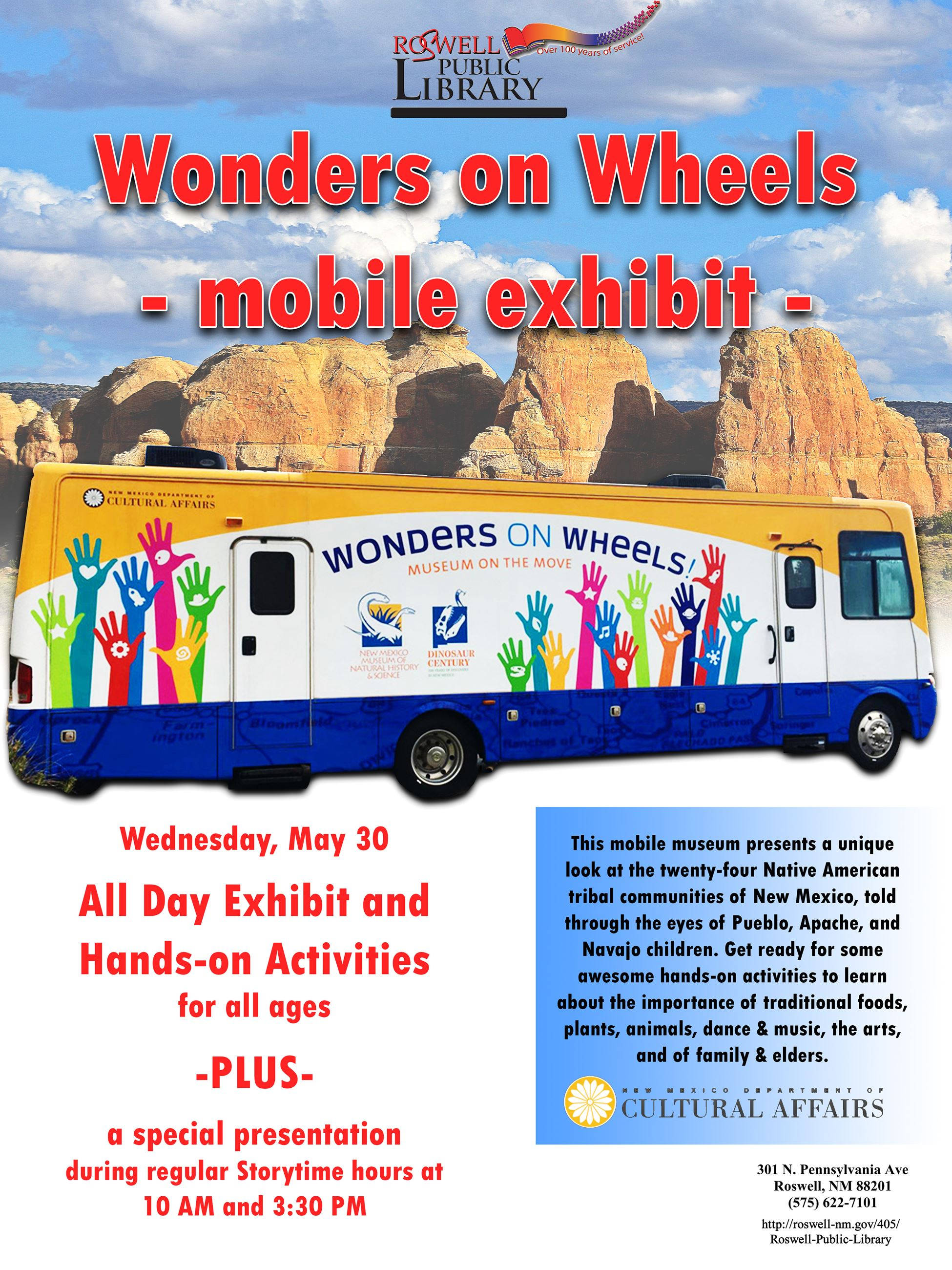 Wonders on Wheels All Day Mobile Exhibit on May 30