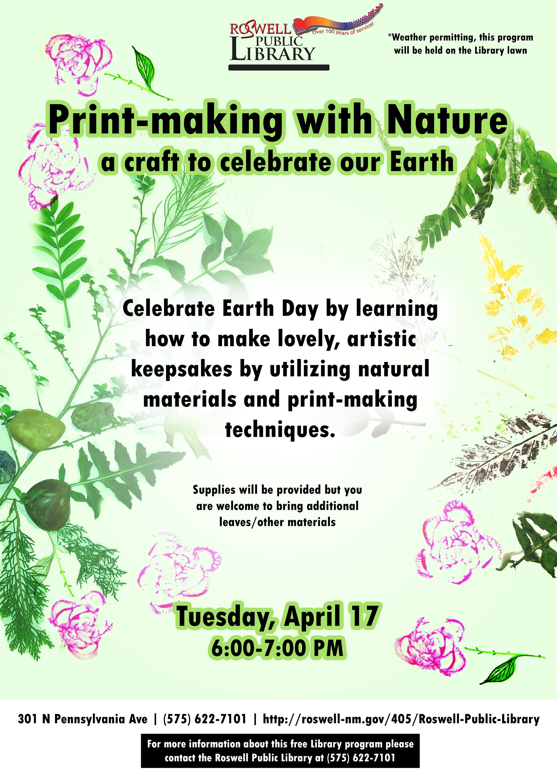 Printmaking With Nature April 17