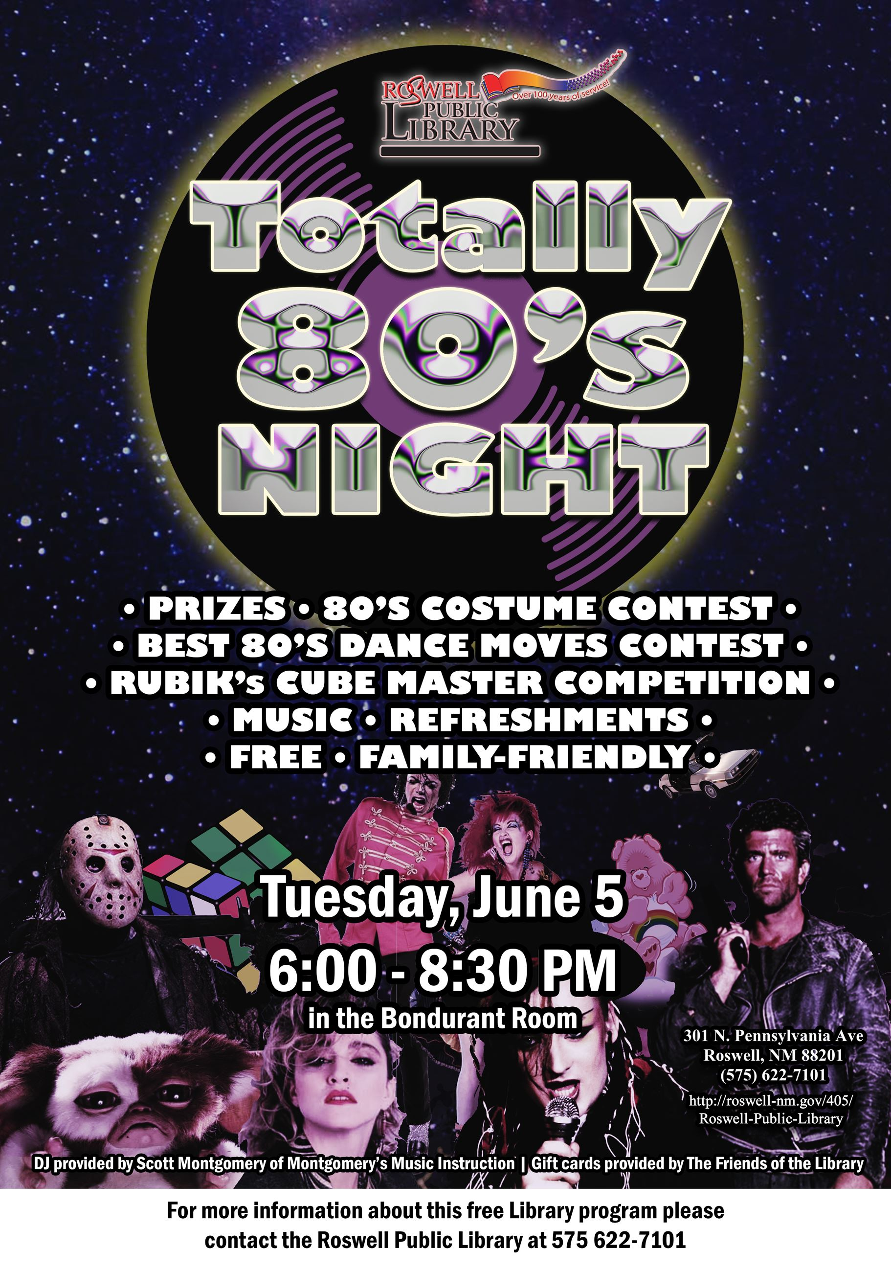 Totally 80's night at the Roswell Public Library