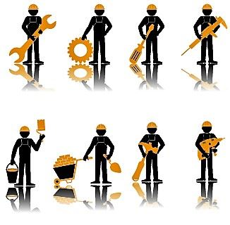 repair workers with tools