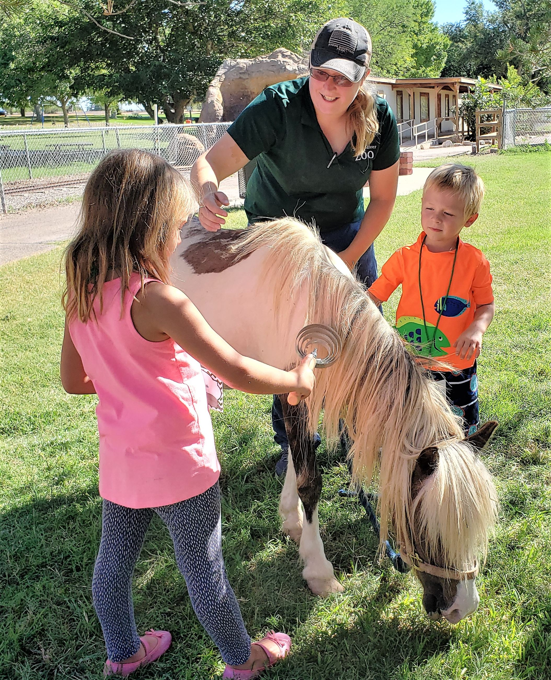Andrea Cole with horse at zoo during kids program (July 2019)