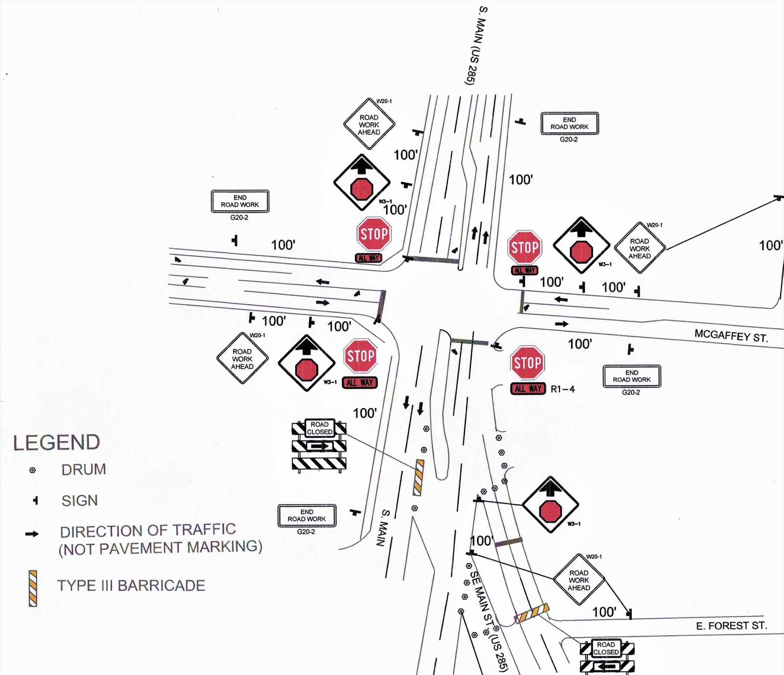 Main and McGaffey project traffic diagram