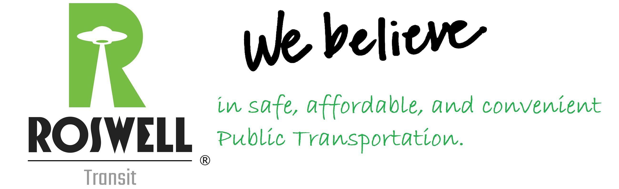Roswell Transit Logo with slogan