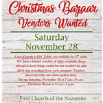 Christmas Bazaar Vendors Wanted