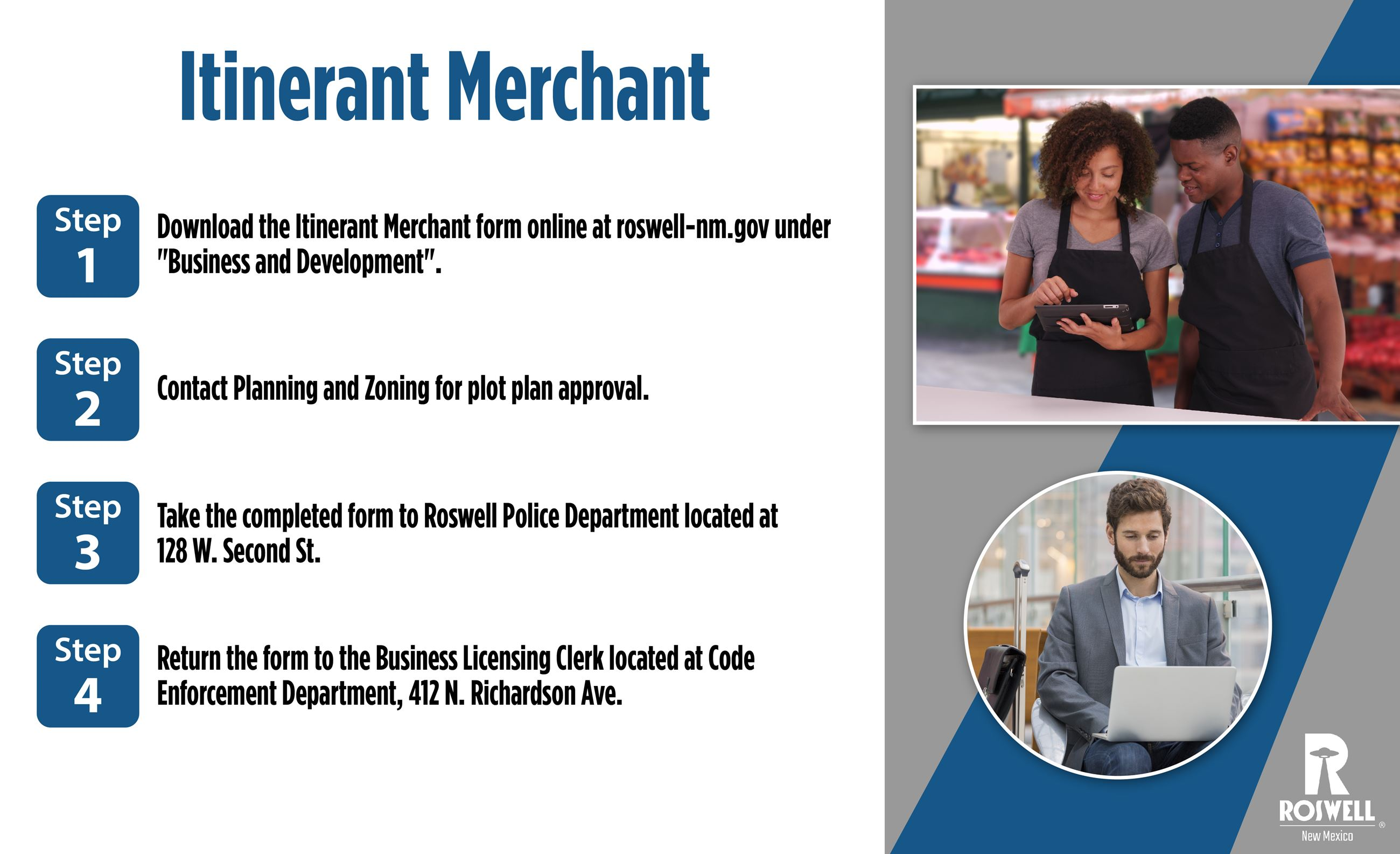 Info graphic with steps to obtain an Itinerant Merchant License