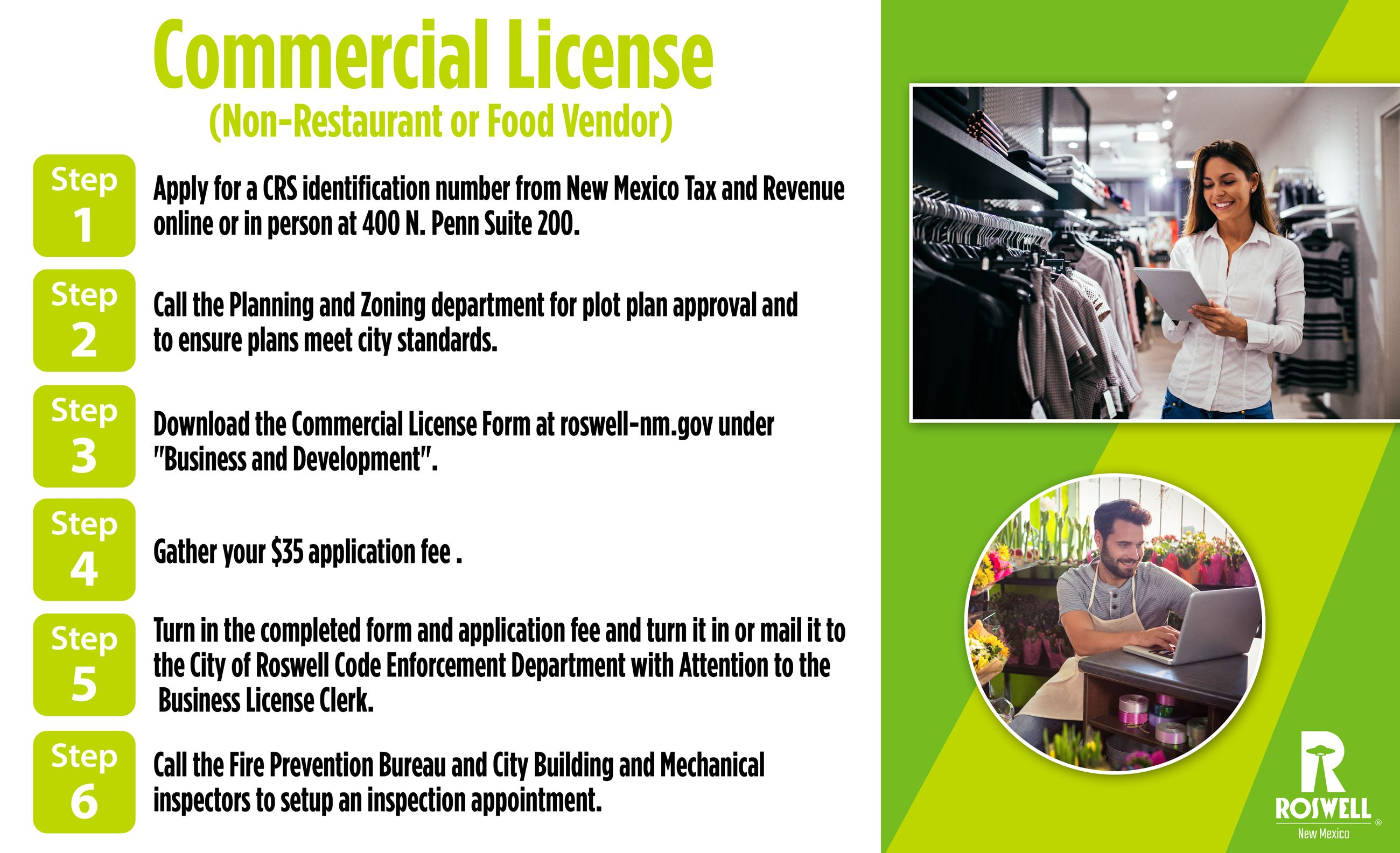 Info graphic with steps to obtain a Commercial License_Non Restaurant