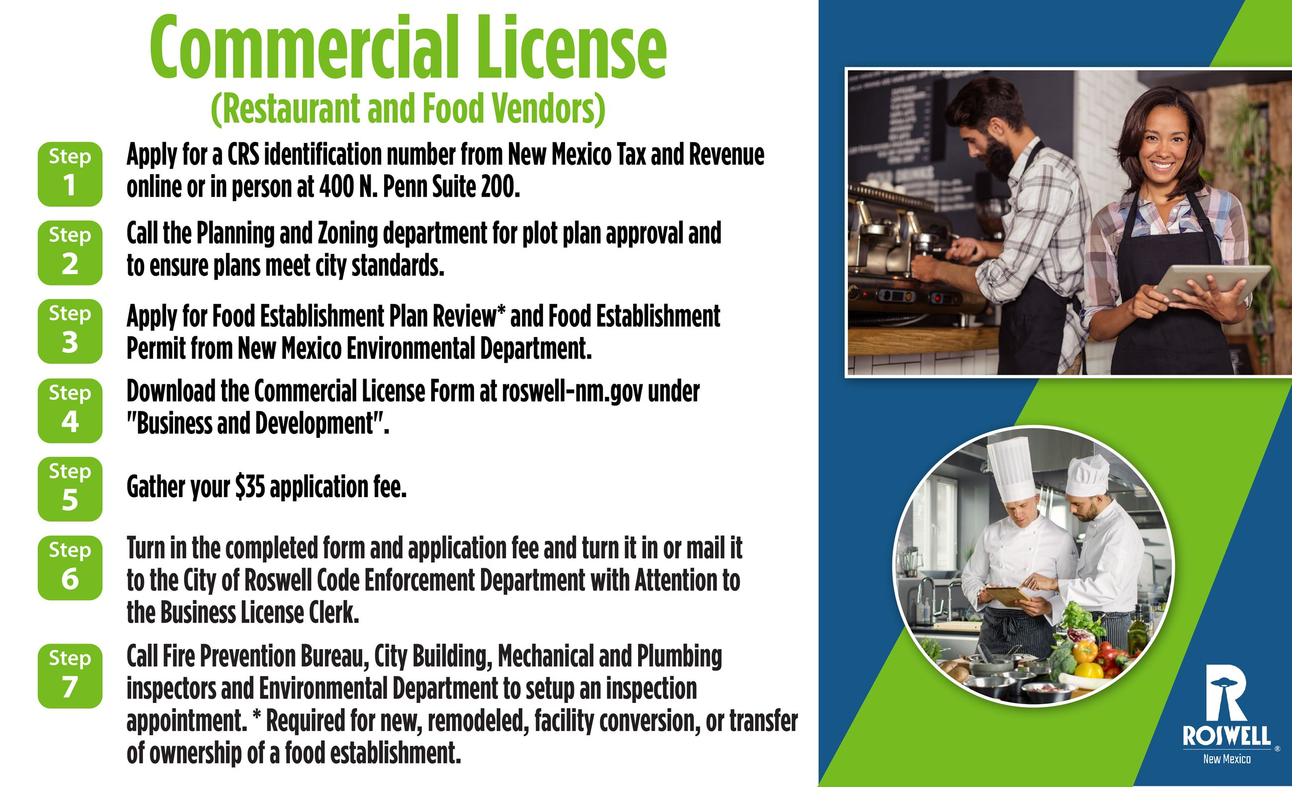Info graphic with steps to obtain a Commercial License_Restaurant