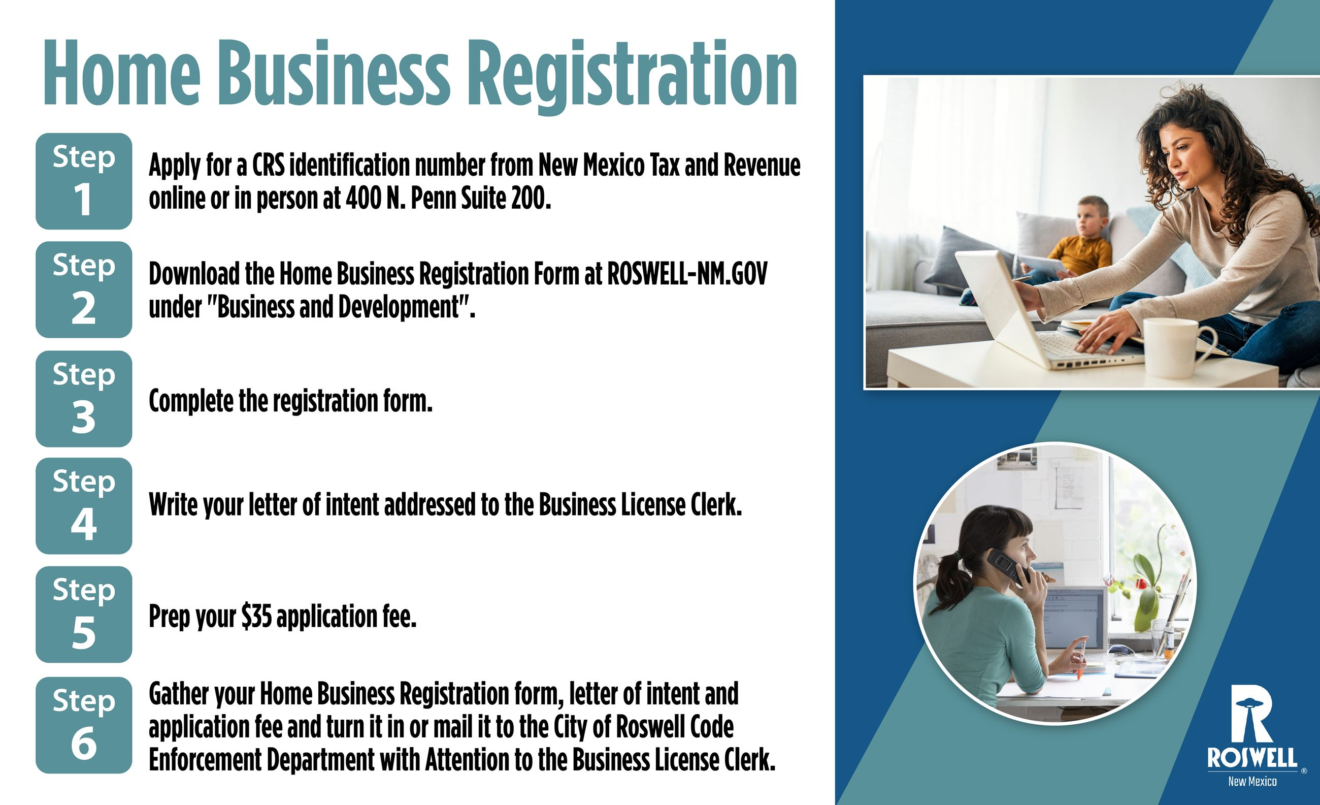 Info graphic with steps to obtain a Home Business License