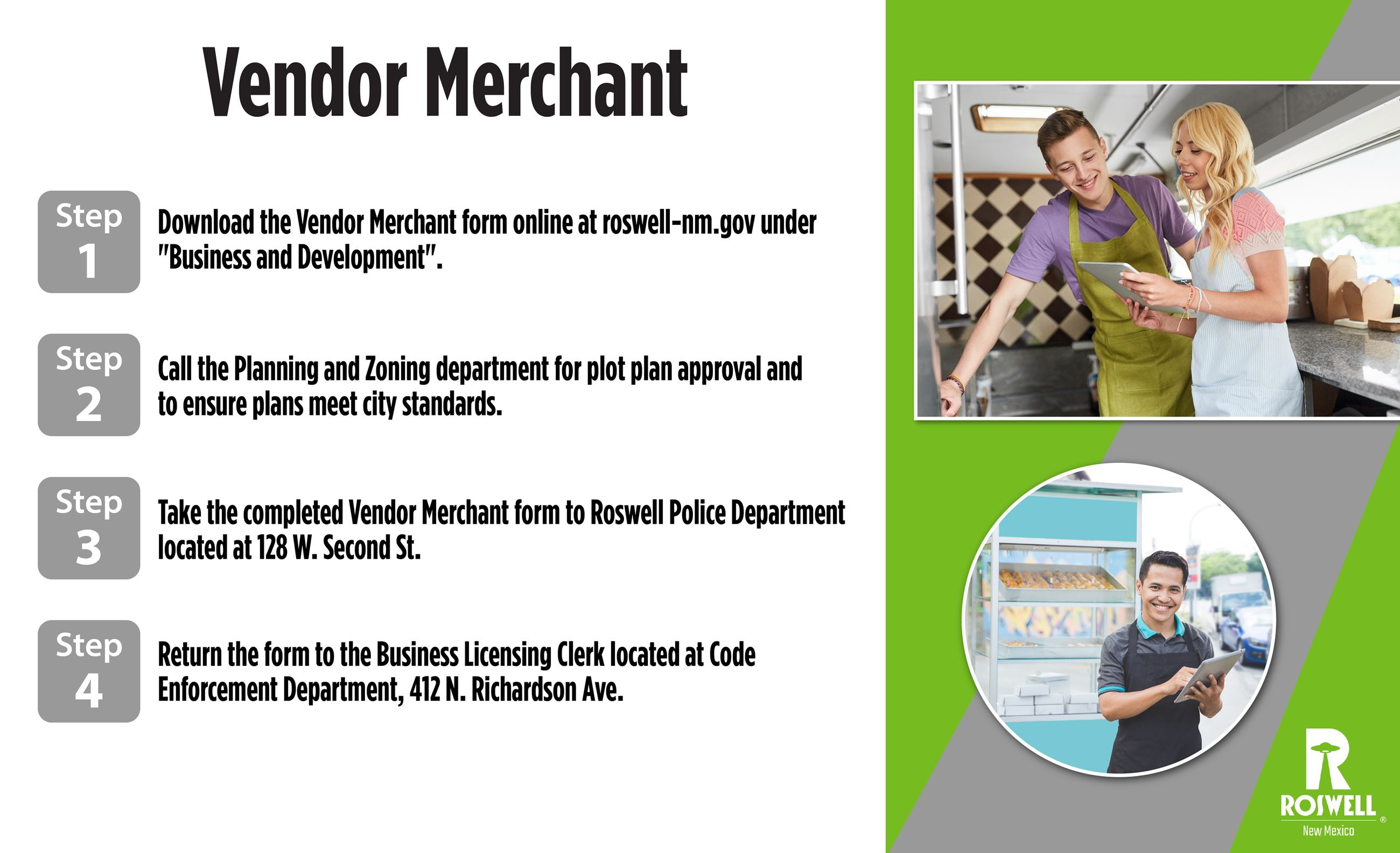 Info graphic with steps to obtain a Vendor Merchant License