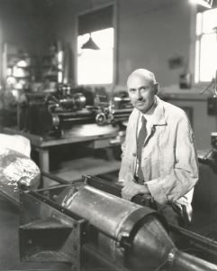 Robert H. Goddard in his Roswell workshop, ca. 1940