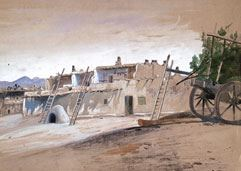 Peter Moran, Pueblo, Santo Domingo, c. 1880s, graphite and opaque watercolor on paper
